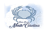 Outer Banks, North Carolina - Crab - Blue - Coastal Icon Art by  Lantern Press