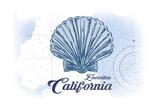 Encinitas, California - Scallop Shell - Blue - Coastal Icon Plakater af Lantern Press