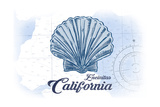 Encinitas, California - Scallop Shell - Blue - Coastal Icon Prints by  Lantern Press