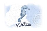 Seaside, Oregon - Seahorse - Blue - Coastal Icon Posters by  Lantern Press