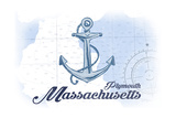 Plymouth, Massachusetts - Anchor - Blue - Coastal Icon Posters by  Lantern Press
