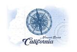 Newport Beach, California - Compass - Blue - Coastal Icon Poster by  Lantern Press