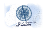 Panama City, Florida - Compass - Blue - Coastal Icon Prints by  Lantern Press