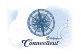 Bridgeport, Connecticut - Compass - Blue - Coastal Icon Print by  Lantern Press