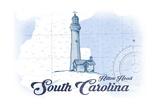 Hilton Head, South Carolina - Lighthouse - Blue - Coastal Icon Prints by  Lantern Press
