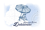 Rehoboth Beach, Delaware - Beach Chair and Umbrella - Blue - Coastal Icon Posters by  Lantern Press