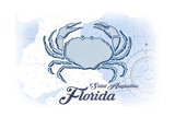Saint Augustine, Florida - Crab - Blue - Coastal Icon Art by  Lantern Press
