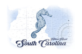 Hilton Head, South Carolina - Seahorse - Blue - Coastal Icon Prints by  Lantern Press