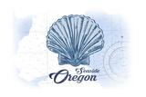 Seaside, Oregon - Scallop Shell - Blue - Coastal Icon Prints by  Lantern Press