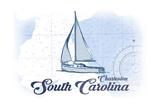 Charleston, South Carolina - Sailboat - Blue - Coastal Icon Posters by  Lantern Press