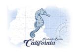 Redondo Beach, California - Seahorse - Blue - Coastal Icon Prints by  Lantern Press