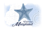 Cambridge, Maryland - Starfish - Blue - Coastal Icon Poster by  Lantern Press