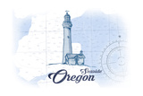 Seaside, Oregon - Lighthouse - Blue - Coastal Icon Print by  Lantern Press