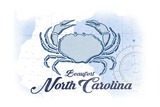 Beaufort, North Carolina - Crab - Blue - Coastal Icon Prints by  Lantern Press