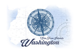 San Juan Islands, Washington - Compass - Blue - Coastal Icon Poster by  Lantern Press