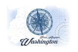 Port Angeles, Washington - Compass - Blue - Coastal Icon Posters by  Lantern Press