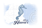 Kauai, Hawaii - Seahorse - Blue - Coastal Icon Print by  Lantern Press