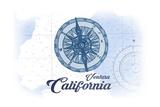 Ventura, California - Compass - Blue - Coastal Icon Poster by  Lantern Press