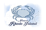 Newport, Rhode Island - Crab - Blue - Coastal Icon Poster by  Lantern Press