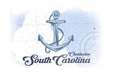 Charleston, South Carolina - Anchor - Blue - Coastal Icon Prints by  Lantern Press
