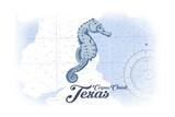 Corpus Christi, Texas - Seahorse - Blue - Coastal Icon Poster by  Lantern Press