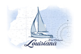 New Orleans, Louisiana - Sailboat - Blue - Coastal Icon Art by  Lantern Press