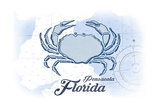 Pensacola, Florida - Crab - Blue - Coastal Icon Prints by  Lantern Press
