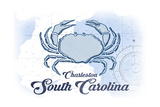 Charleston, South Carolina - Crab - Blue - Coastal Icon Print by  Lantern Press