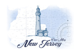 Cape May, New Jersey - Lighthouse - Blue - Coastal Icon Art by  Lantern Press