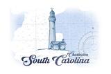 Charleston, South Carolina - Lighthouse - Blue - Coastal Icon Prints by  Lantern Press
