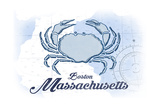 Boston, Massachusetts - Crab - Blue - Coastal Icon Art by  Lantern Press
