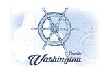 Seattle, Washington - Ship Wheel - Blue - Coastal Icon Art by  Lantern Press