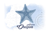 Astoria, Oregon - Starfish - Blue - Coastal Icon Art by  Lantern Press