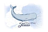 Corpus Christi, Texas - Whale - Blue - Coastal Icon Print by  Lantern Press