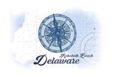 Rehoboth Beach, Delaware - Compass - Blue - Coastal Icon Art by  Lantern Press