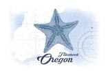 Tillamook, Oregon - Starfish - Blue - Coastal Icon Prints by  Lantern Press