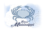 Biloxi, Mississippi - Crab - Blue - Coastal Icon Prints by  Lantern Press