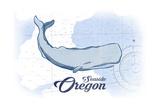 Seaside, Oregon - Whale - Blue - Coastal Icon Prints by  Lantern Press
