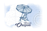 Seaside, Oregon - Beach Chair and Umbrella - Blue - Coastal Icon Prints by  Lantern Press