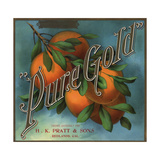 Pure Gold Brand - Redlands, California - Citrus Crate Label Prints by  Lantern Press