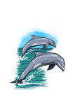 Dolphins Jumping - Icon Prints by  Lantern Press