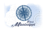 Biloxi, Mississippi - Compass - Blue - Coastal Icon Poster by  Lantern Press