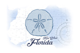 Key West, Florida - Sand Dollar - Blue - Coastal Icon Prints by  Lantern Press