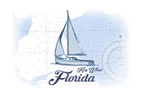 Key West, Florida - Sailboat - Blue - Coastal Icon Poster by  Lantern Press