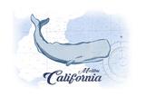 Malibu, California - Whale - Blue - Coastal Icon Prints by  Lantern Press