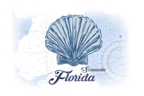 Sarasota, Florida - Scallop Shell - Blue - Coastal Icon Prints by  Lantern Press