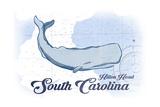 Hilton Head, South Carolina - Whale - Blue - Coastal Icon Print by  Lantern Press