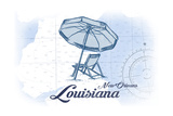 New Orleans, Louisiana - Beach Chair and Umbrella - Blue - Coastal Icon Prints by  Lantern Press