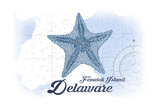 Fenwick Island, Delaware - Starfish - Blue - Coastal Icon Posters by  Lantern Press