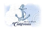Redondo Beach, California - Anchor - Blue - Coastal Icon Prints by  Lantern Press